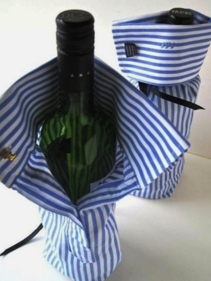 pánska košeľa ako obal na víno